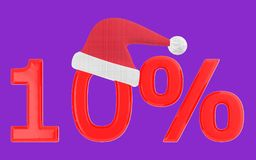3d 10 percentage , xmas cap. Purple  background - 3d rendering Royalty Free Stock Photo