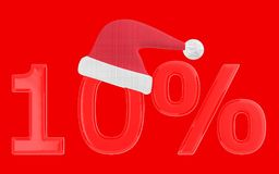3d 10 percentage , xmas cap. Red  background - 3d rendering Stock Photo