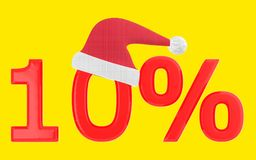 3d 10 percentage , xmas cap. Yellow  background - 3d rendering Stock Photo