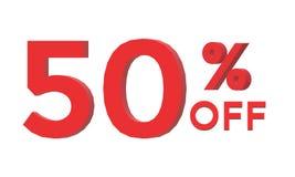 3d 50 percenten weg op witte achtergrond Stock Fotografie