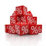 3d - percentenkubussen - rood Stock Fotografie