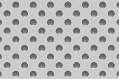 3d perforated surface. 3d rendering of a grey surface with a lot of holes Royalty Free Stock Images