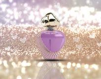 3D perfume bottle on glitter background Royalty Free Stock Image