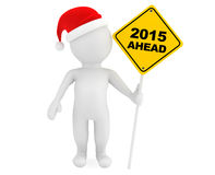 3d person with 2015 Ahead traffic sign Stock Photography