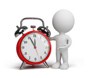 3d person with an alarm clock. 3d person with a red alarm clock. 3d image. White background Royalty Free Stock Photo