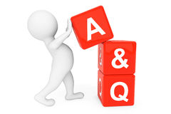 3d person with Answer and Question cubes Royalty Free Stock Images