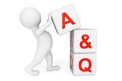 3d person with Answer and Question cubes. On a white background stock illustration