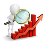 3d person with a bar chart and a magnifier Royalty Free Stock Photos