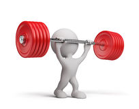 3d person with a barbell. 3d person raises the barbell. 3d image. White background Stock Images
