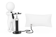 3d Person with Black Hand Air Pump Inflates Promotion Blank Bann Royalty Free Stock Images