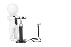 3d Person with Black Hand Air Pump near Blank Spase for Your Obj. Ect or Text on a white background. 3d Rendering Royalty Free Stock Image