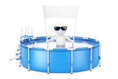 3d Person with Blank Placard Banner in Blue Portable Outdoor Rou Royalty Free Stock Image