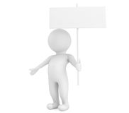 3d person with blank sign board Stock Photography