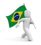 3d person with Brasil flag Royalty Free Stock Images