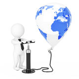 3d Person Businessman with Black Hand Air Pump inflates Earth Gl Royalty Free Stock Image