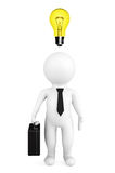 3d person businessman with a bulb over a head. On a white background Stock Images