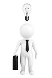 3d person businessman with a bulb over a head. On a white background Royalty Free Stock Images