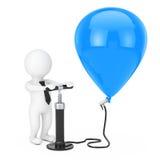 3d Person Businessman con la bomba de aire de la mano negra infla el Bal azul Fotos de archivo libres de regalías