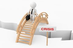 3d Person Businessman Crossing Bridge with Crisis Sign. 3d Rende. 3d Person Businessman Crossing Bridge with Crisis Sign on a white background. 3d Rendering Stock Image