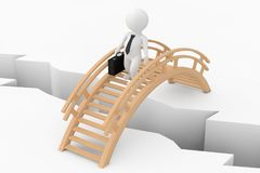 3d Person Businessman Crossing Bridge over Ground Pit. 3d Render. 3d Person Businessman Crossing Bridge over Ground Pit on a white background. 3d Rendering Stock Photography