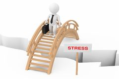 3d Person Businessman Crossing Bridge with Stress Sign. 3d Rende. 3d Person Businessman Crossing Bridge with Stress Sign on a white background. 3d Rendering Royalty Free Stock Images