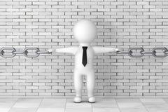 3d Person Businessman Holding Chain Together framförande 3d Royaltyfri Bild