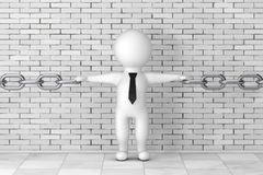 3d Person Businessman Holding Chain Together. 3d Rendering. 3d Person Businessman Holding Chain Together in front of brick wall. 3d Rendering Royalty Free Stock Image