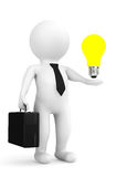 3d person businessman with idea bulb over hand Royalty Free Stock Image