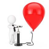 3d Person Businessman med luftpumpen för den svarta handen blåser upp den röda bollen Royaltyfri Foto