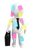 3d person businessman with memo papers. On a white background Royalty Free Stock Photography