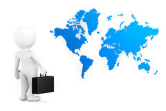 3d person businessman with world map Royalty Free Stock Images
