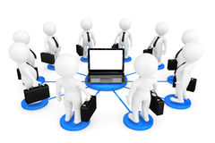 3d person businessmans around Laptop. On a white background Royalty Free Stock Photos