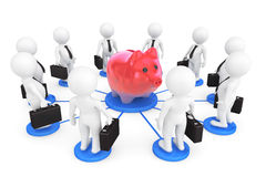 3d person businessmans around Piggy Bank. On a white background Royalty Free Stock Photography
