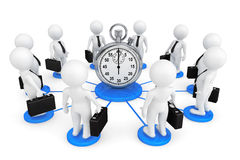 3d person businessmans around Stopwatch. On a white background Royalty Free Stock Images