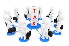 3d person businessmans with tax cubes. On a white background Stock Images