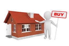 3d Person with Buy Banner and Brick House Royalty Free Stock Photo