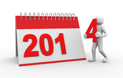 3d person with 2014 calender illustration Royalty Free Stock Photo