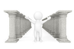 3d person with classic columns. On a white background Stock Photography