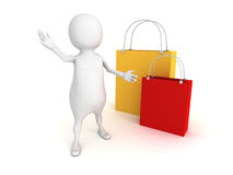 3d person with colorful shopping bags Stock Photography