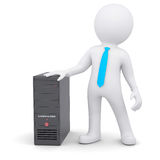 3d person and computer system unit. 3d white person and a computer system unit.  render on a white background Stock Photography