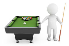3d person with Cue near billiards table Stock Photos