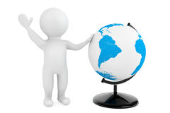 3d person with Desk Earth Globe. On a white background Stock Photos