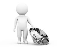 3d person with diamond Royalty Free Stock Photo