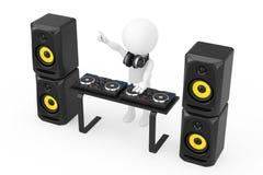 3d Person Disc Jockey com uma plataforma giratória, oradores e fones de ouvido Foto de Stock Royalty Free