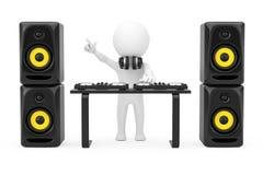 3d Person Disc Jockey com uma plataforma giratória, oradores e fones de ouvido Imagens de Stock Royalty Free