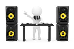 3d Person Disc Jockey con una placa giratoria, Presidentes y auriculares libre illustration
