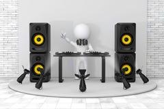 3d Person Disc Jockey med en skivtallrik, högtalare och hörlurar Arkivfoto