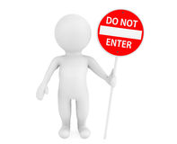 3d person with Do Not Enter traffic sign Royalty Free Stock Photography