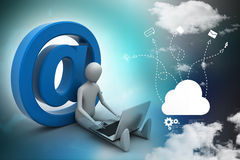 3d person with e mail symbol and laptop Royalty Free Stock Photography