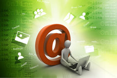 3d person with e mail symbol and laptop Royalty Free Stock Photo